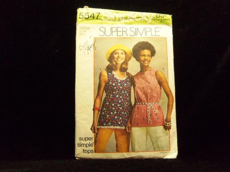 Misses' Super Simple Tops Pattern Simplicity 5547 1970s patterns retro clothing vintage clothing sewing Misses' size 12 - 14