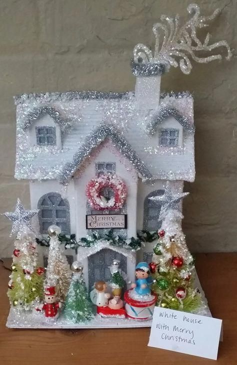 Vintage Inspired Putz House With Wooden German Ornaments Decorated Bottle Brush Trees Angels One Of A Kind Handmade Treasure Learn About Christmas