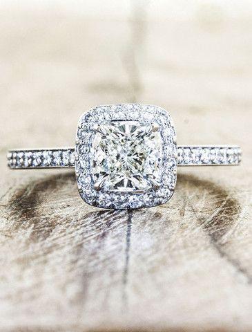 gorgeous! unique engagement rings, halo, cushion cut diamond | Ken & Dana Design $4,995