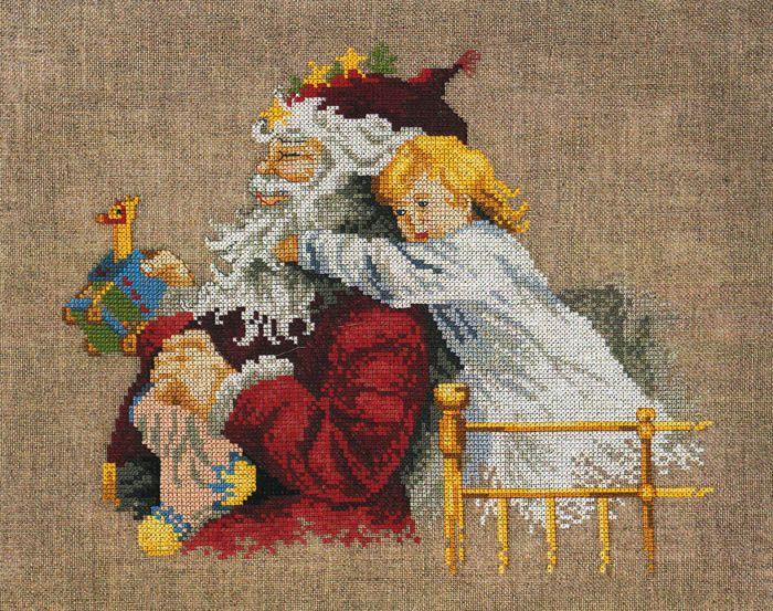 Broderi Permin JUL: Julemand og barn - Butik Paradisets bamser, tøj og brugskunst