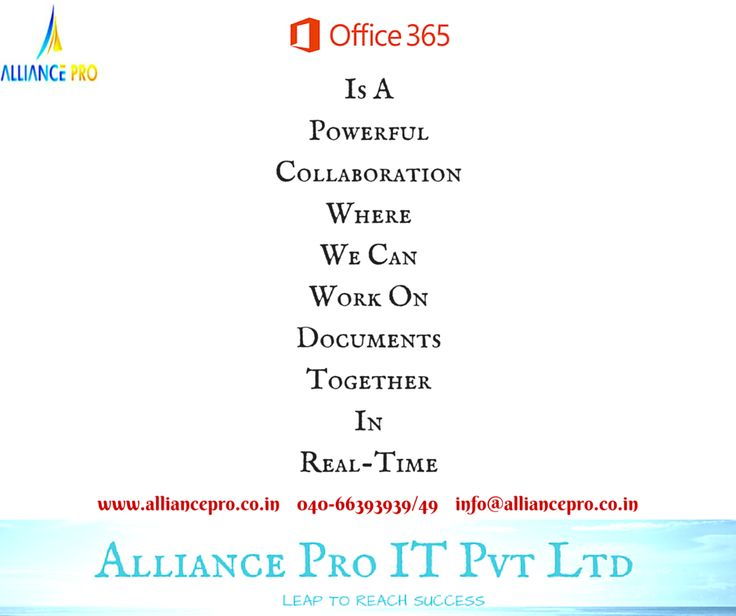 office 365 is the product with many services like yammer,skype for business,sharepoint, onedrive, exchange online server, office 365 login into the official site and know more about the office 365 email, office 365 price, office 365 plans, office 365 price in india, office 365 download all such kind of details, alliance pro it pvt ltd is the best organization which provides the best services of the office 365
