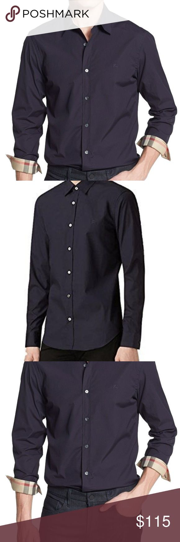 Burberry Brit men's Henry check long sleeve shirt Product details: A straight fit shirt in cotton with elastane for comfort.Check accent at the collar and cuffs. Single-button cuffs. Back yoke. 97% cotton, 3% elastane. Machine wash warm, tumble dry low. By Burberry Brit; imported. Men's Sportswear Burberry Shirts