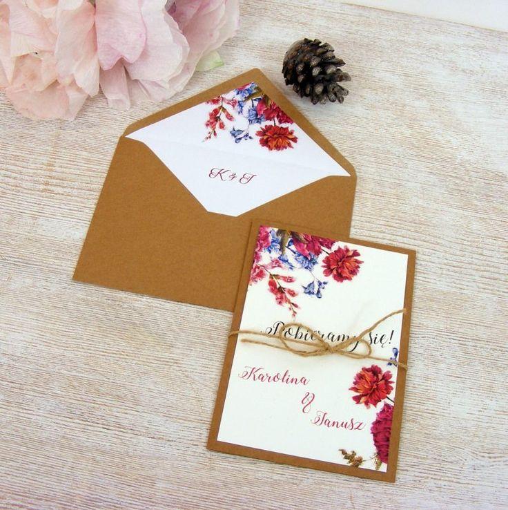 Zaproszenia ślubne w folderze, boho, rustykalne z ozdobną kopertą