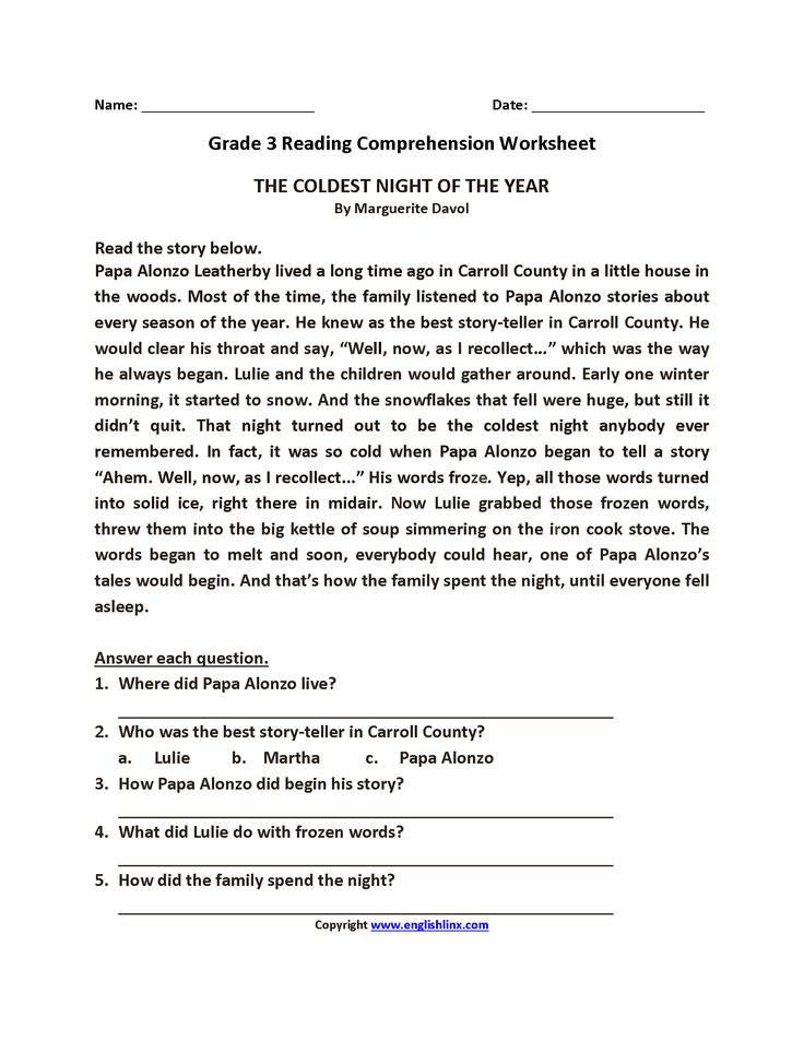 Breathtaking Free Printable Reading Comprehension ...