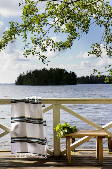 Summer in Finland, sauna and a lovely striped Blanka-towel from Nest Factory