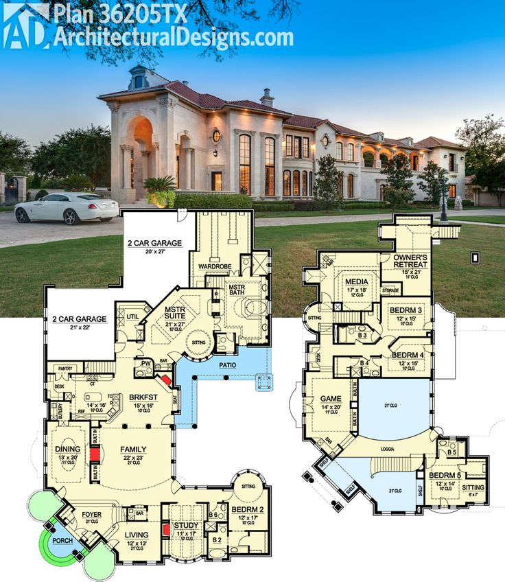 Architectural Designs Luxury House Plan 36205TX gives you almost 7,000 sq. ft. and a floor plan to die for. Ready when you are. Where do YOU want to build?