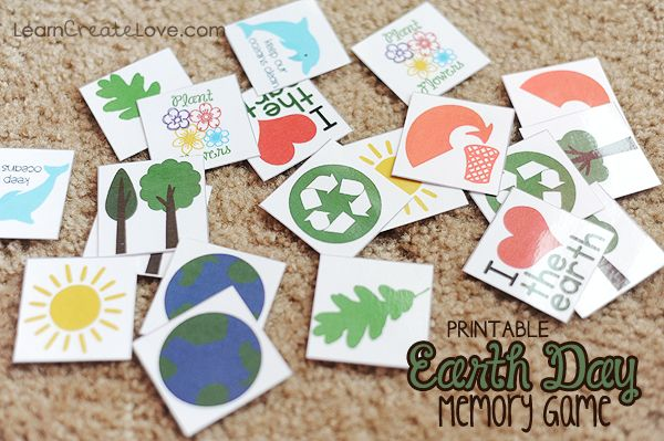 { Printable Earth Day Memory Game } from LearnCreateLove.com
