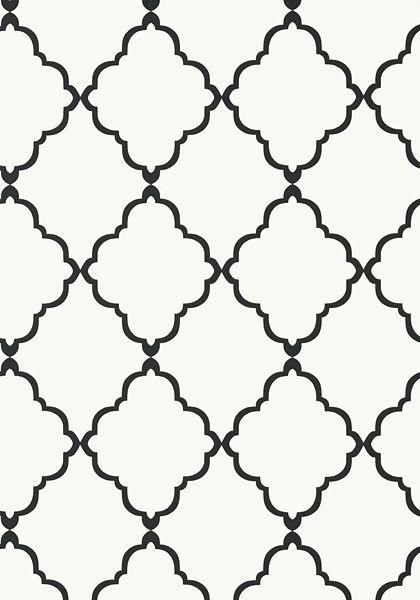 Anna French- Seraphina- Klein Trellis Black on White shop.wallpaperconnection.com