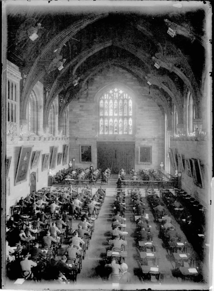 Final examinations in the Great Hall, 1927. Sydney University 1927. by Harold Cazneaux (Australia)