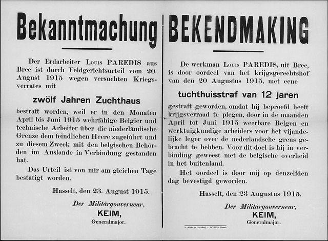 23 augustus 1915 veroordeling van Louis Paredis voor het overbrengen van mannen over de grens met Nederland by mathildepaukens, via Flickr