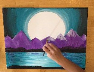Step by step canvas painting tutorial for beginners. Learn how to paint purple mountains and turquoise water. #stepbysteppainting #canvaspaintingideas #beginnerpaintings