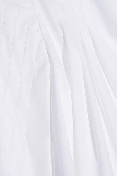 Oscar de la Renta - Pleated Stretch Cotton-blend Blouse - White - US10
