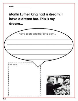 MLK DAY I HAVE A DREAM WRITING! - TeachersPayTeachers.com