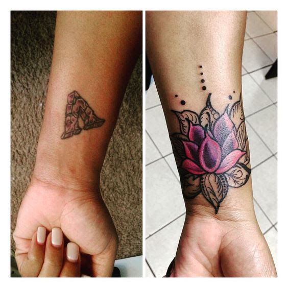 60 Amazing Cover Up Tattoos Pictures Before And After You Won't Believe That There was A Tattoo | Flower wrist tattoos, Wrist tattoo cover up, Flower cover up tattoos
