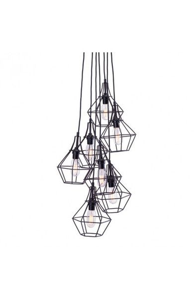 Palmerston Ceiling lamp has 7 unique pendants clustered in a stagger pattern, hung by slim black cords. Each pendant has a frame work in a jeweled shape with...