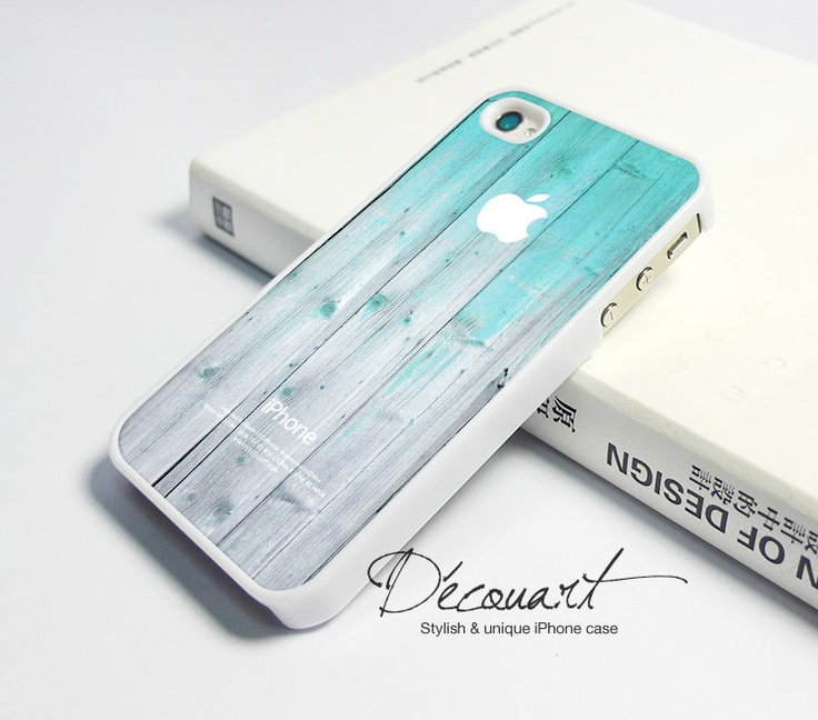iPhone 4 case, iPhone 4s case, case for iPhone 4, mint wood pattern with apple logo W284. $16,99, via Etsy.