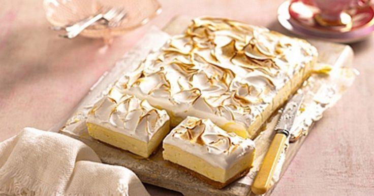 Lovely lemon meringue cheesecake slice