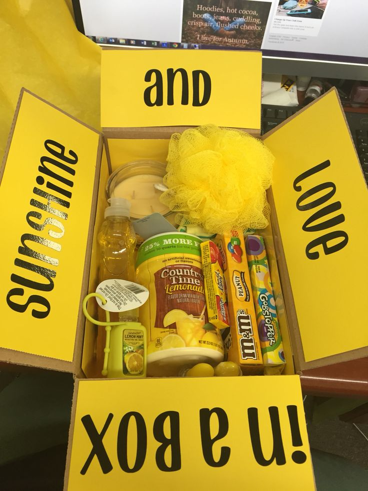 Sunshine in a box. Yellow care package.
