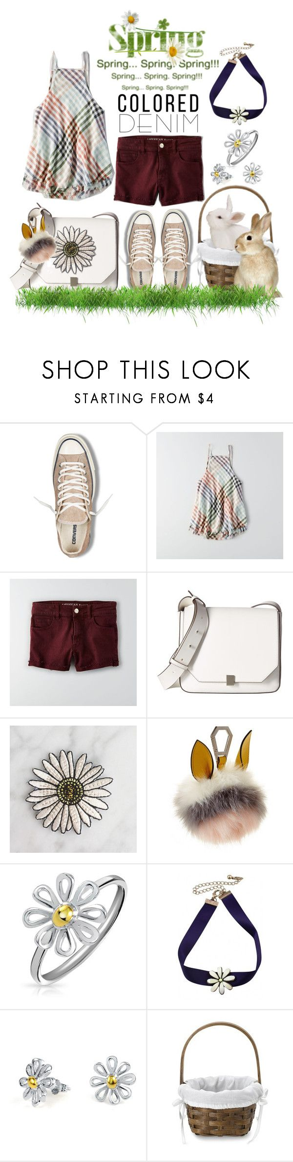"""""""Spring Trend: Colored Denim"""" by mia-christine ❤ liked on Polyvore featuring Converse, American Eagle Outfitters, French Connection, Kendall + Kylie, Bling Jewelry, Williams-Sonoma and coloredjeans"""