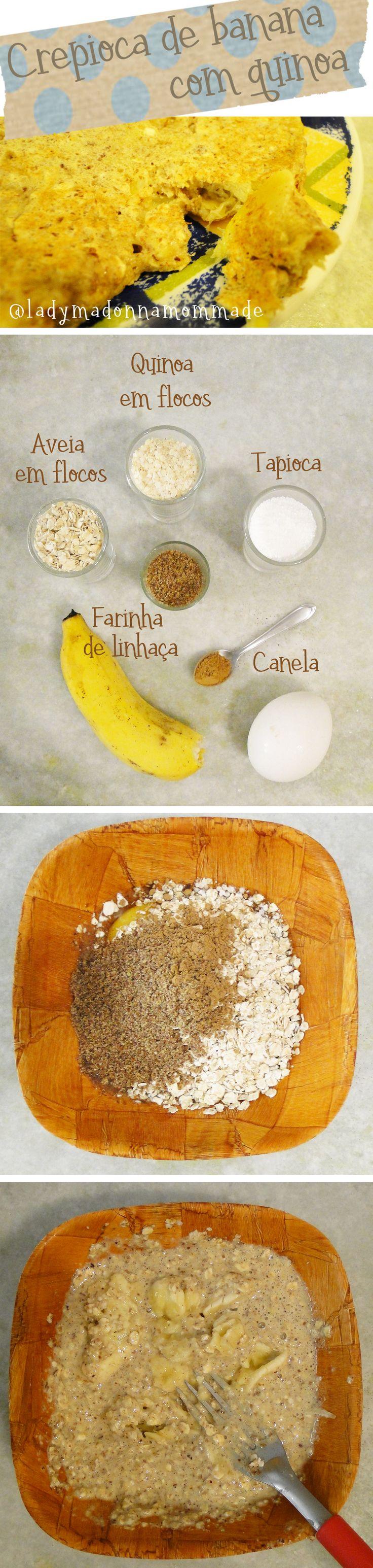 1 colher de sopa de tapioca  1 ovo 1 banana 1 colher de sopa de aveia em flocos 1 colher de sopa de quinoa (BOTA #QUINOA EM TUDO GEMTCH!) 1/2 colher de sopa de farinha de linhaça 1 colher de chá de canela  É só misturar tudo, menos a banana. Depois amassar a banana e misturar bem. Na receita doce eu frito com óleo de coco, e para receitas salgadas uso banha de porco.