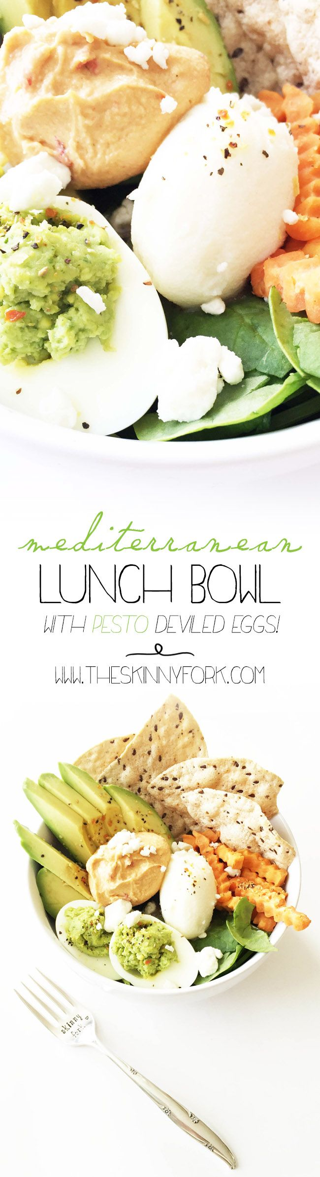 This mediterranean lunch bowl is packed with plenty of vegetables and protein too. Also, these pesto deviled eggs are amazing and so easy! TheSkinnyFork.com | Skinny & Healthy Recipes