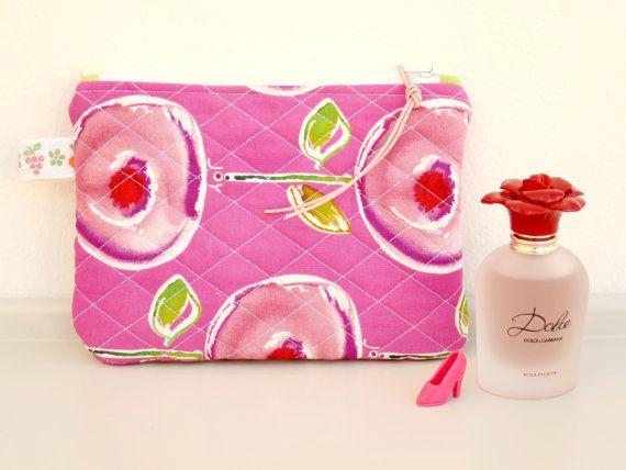 Pink Zipper Pouch  Makeup Pouch  Purse  Handmade by NerosPost