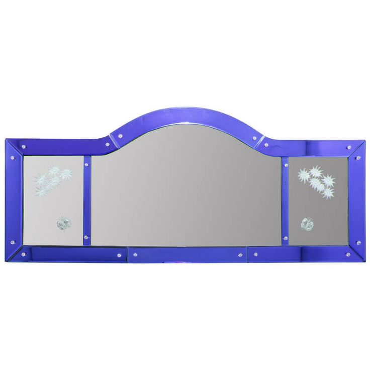 Art Deco Cobalt Blue Bordered Horizontal Mirror   From a unique collection of antique and modern wall mirrors at https://www.1stdibs.com/furniture/mirrors/wall-mirrors/