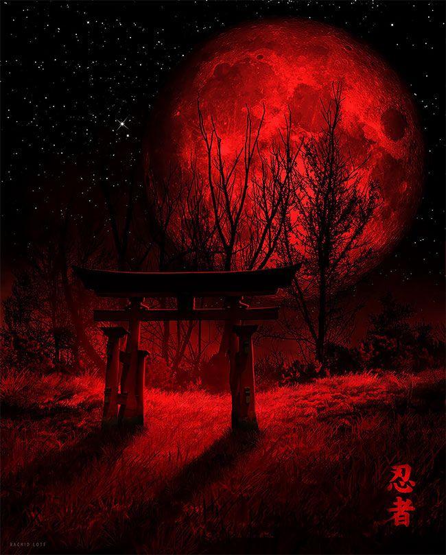 Wakka Wakka Wakka Amazing Nostalgic Video Game Artworks By Rachid Lotf Dark Red Wallpaper Moon Artwork Red And Black Wallpaper Anime wallpaper red moon