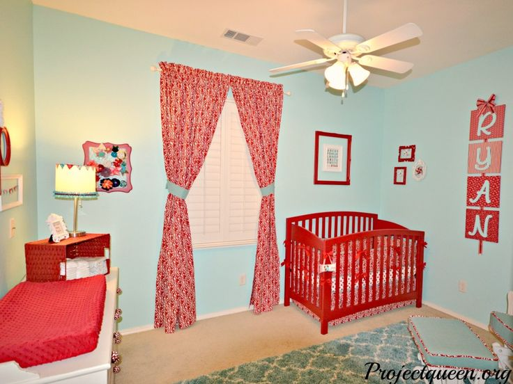 Red and Turquoise Baby Girl Nursery