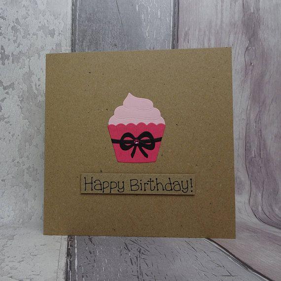 Cupcake birthday card Handmade Happy Birthday card