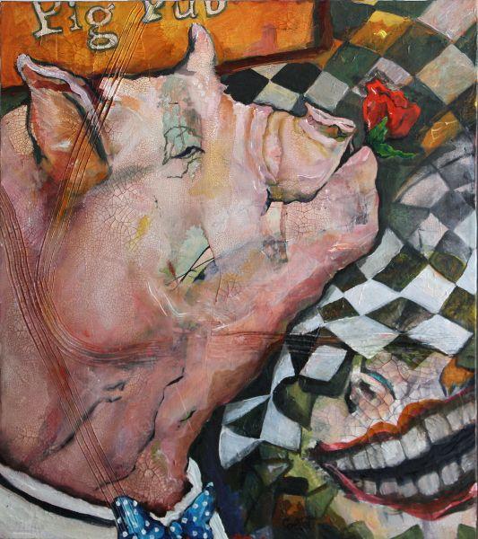 """The Pig Pub, Acrylic on canvas, 24"""" X 28"""""""