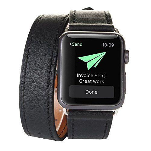 Surwin Apple Watch Armband 42 mm, Echt Leder Ersatzband iWatch Armband aus Leder Elegant Luxuriös mit Metallverschluss - Schwarz - http://uhr.haus/surwin/surwin-apple-watch-armband-echt-leder-ersatzband