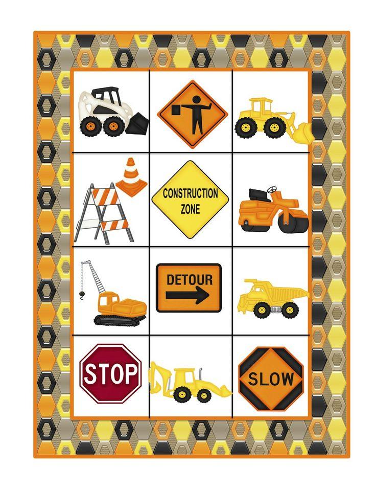 Preschool Printables: Construction Machines Large Cards
