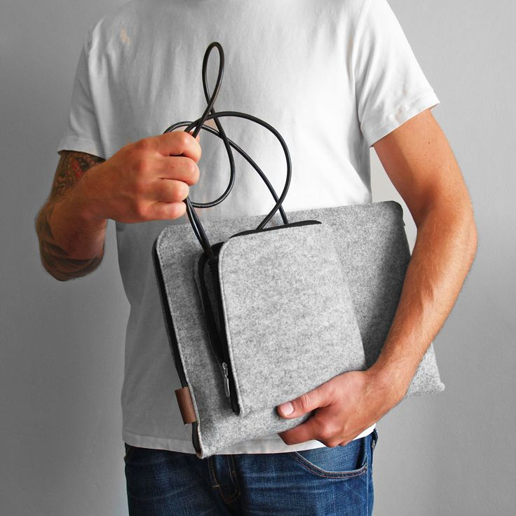 ETUI NA LAPTOPA I ZASILACZ  #laptopsleeve #macbook #cover #felt #gray #macbookcase #laptopcover