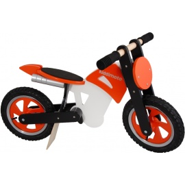 Oranje-zwart-witte Kiddimoto crossmotor loopfiets    Steel de show met deze fantastische loopfiets gebaseerd op de offroad crossmotoren.  Met deze loopfiets ontwikkel je razendsnel een goede balans, coördinatie en motoriek waardoor de overstap naar de echte fiets haast vanzelf gaat.  Deze crossmotor is een stoer, orgineel en leerzaam kado waarmee bij ieder kind een lach op het gezicht getoverd wordt.