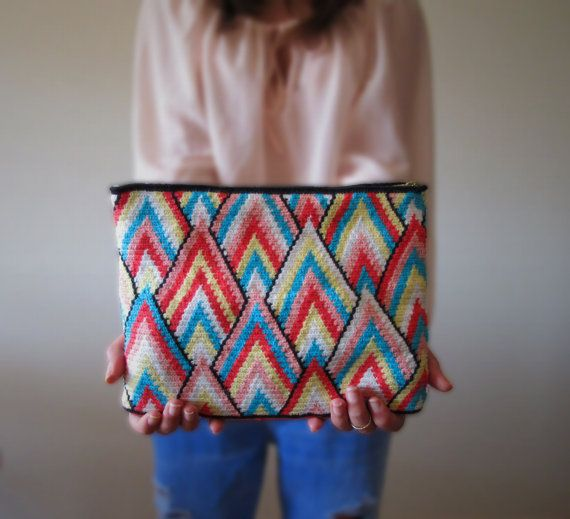 Rainbow Mountain Pikes Crochet Clutch by TheStoryofaMulberry