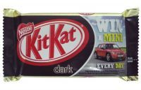 £0.45 - Nestle Kit Kat Four Finger Dark 45g  Four Crispy Wafer Fingers Coated With Plain Chocolate