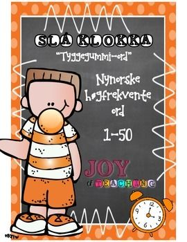 "*NYNORSK* This is the first of 10 High-frequency sets in Norwegian! Set # 1 - Orange""Beat the Clock"" is a great and engaging word activity for students to master fast recognition of high-frequency words. My students L-O-V-E it! I use this system from grade 1-6 throughout the whole school year."