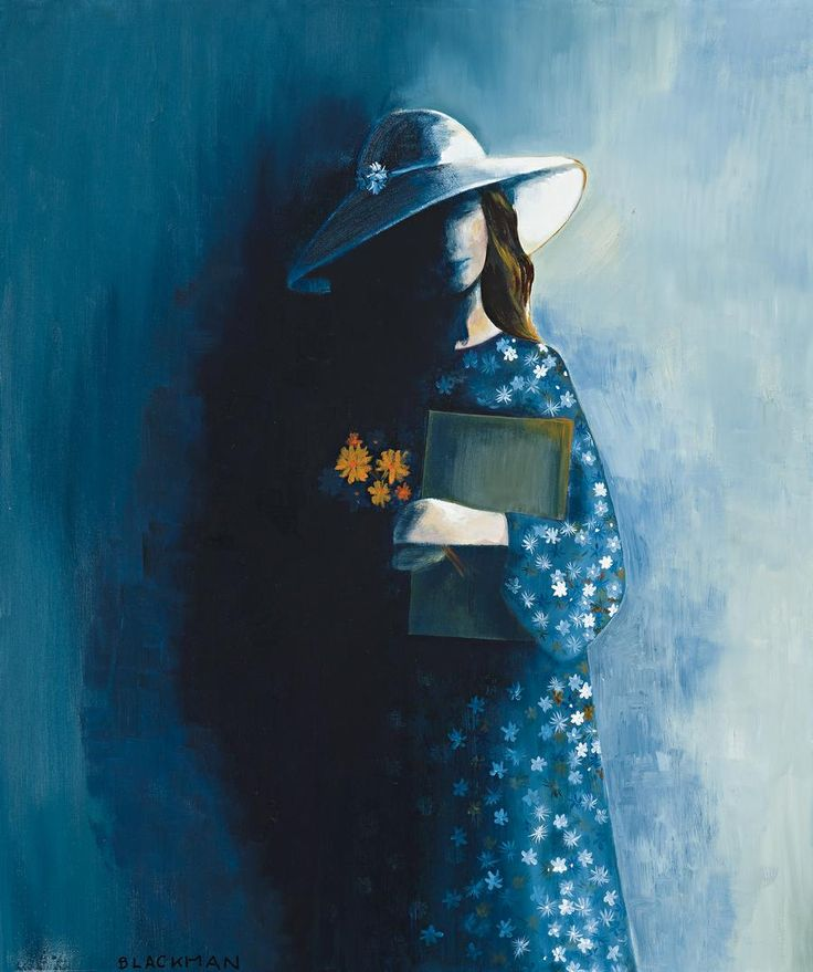 Charles Blackman Girl with Starry Dress and Bouquet