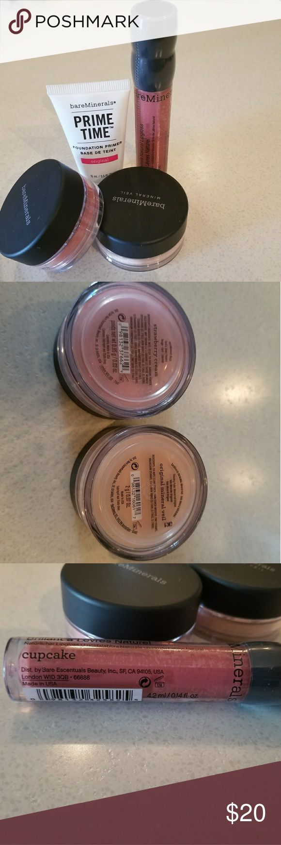 Bare Minerals Bundle Bundle includes 1 full size gloss in cupcake, delux sample of Prime Time foundation primer and .07 oz of Mineral Veil and .03 oz blush in Strawberry Cream. All unused products. bareMinerals Makeup