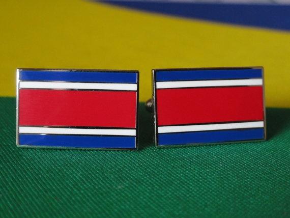 Costa Rican Flag Cufflinks by LoudCufflinks on Etsy, $22.00