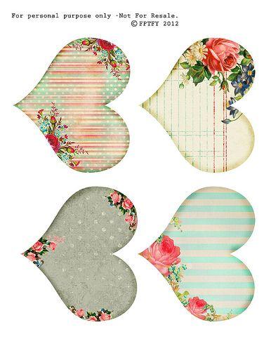 free printable shabby hearts by fptfy