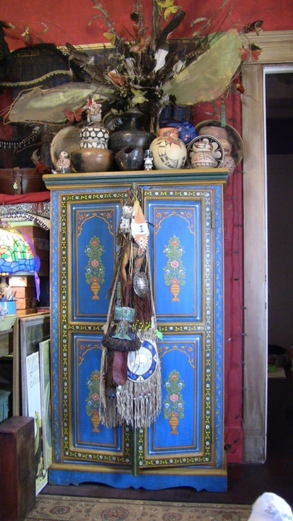 bohemian interior, like the dresser /cabinet