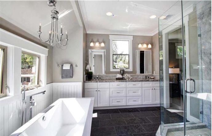White Vanity Aran Granite Looking Top Dark Floor