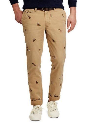 86722050d Polo-Ralph-Lauren-Men-Sportsman-Hunting-Ducks-Embroidered-Khaki-Chino-Slim- Pants