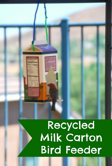 17 best images about innovative recycling and upcycling on for Plastic milk carton bird feeder