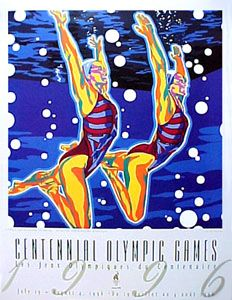 OLYMPIC SYNCHRONIZED SWIMMING Poster by Hiro Yamagata - Atlanta Summer Olympics 1996