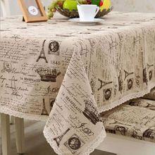 Europa linho toalha de mesa de algodão pequena coroa carta borda do laço impresso toalha de mesa de casamento da fonte do partido toalha de mesa retangular(China (Mainland))