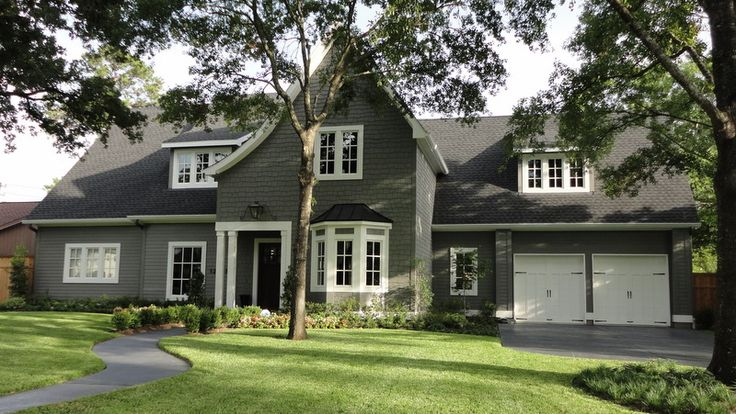 Benjamin moore amherst gray exterior color with white trim and black front and garage doors for Best place to buy exterior paint
