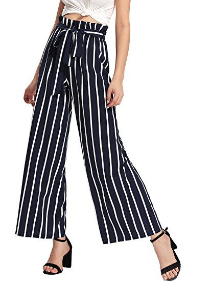 9a86ca86883 $20 Floerns Women's Frilled Waist Striped Print Palazzo Pants Navy L ...